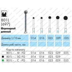 Боры алмазные турбинные 801L-014M-FG (длинный шаровидный, без кольца) NTI